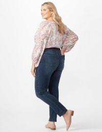 Knit Denim Pull On Jeans - Dark Wash - Back