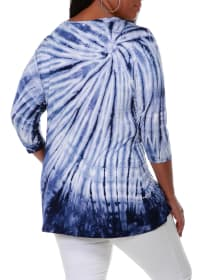 3/4 Sleeve Tie Dye Top - Navy - Back