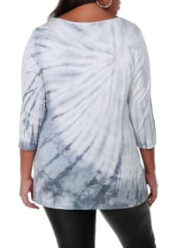 3/4 Sleeve Tie Dye Top - Slate Grey - Back