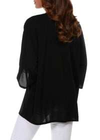 3/4 Sleeve Grommet Trimmed Cardigan - Black/Gold - Back