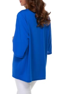 3/4 Sleeve Grommet Trimmed Cardigan - Cerulean Blue/Gold - Back