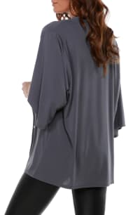 3/4 Sleeve Grommet Trimmed Cardigan - Slate Grey/Gold - Back