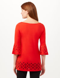 Boat Neck Bell Sleeve Knit Tunic - Blood Orange - Back