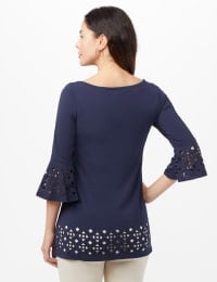 Boat Neck Bell Sleeve Knit Tunic - Navy - Back