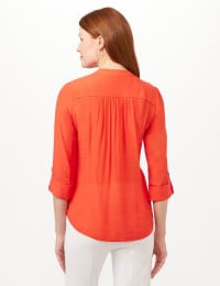 Pintuck Textured Button Popover Top - Bright Orange - Back