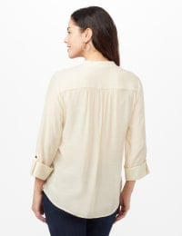 Pintuck Textured Button Popover Top - Neutral - Back
