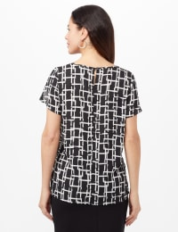 Tulip Sleeve Keyhole Top - Black/White - Back