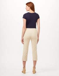 Pull-On Lace Trim Crop Pants - Oatmeal - Back