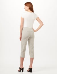 Striped Pull-On Crop Pants - White/Black - Back