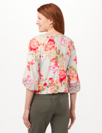 Twin Floral Peasant Top - Cool Coral - Back