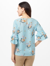 Cold Shoulder Floral Tie Front Blouse - Aqua - Back