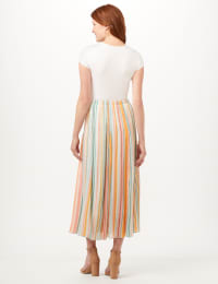 Textured Pull-On Skirt - Gold Ray/Peach - Back