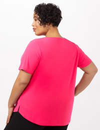 Three Button Crepe Tee Knit Top - Plus - Hot Magenta - Back