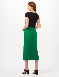 Side Slit Pull-On Pencil Skirt with Button Detail - Emerald Green - Back