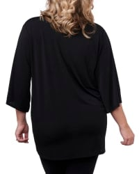 3/4 Sleeve Grommet Trimmed Cardigan - Plus - Black/Gold - Back