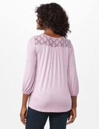 Crochet Trim Tie Front Knit Top - Lilac Luster - Back