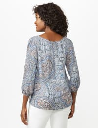 Crochet Trim Floral Square Neck Top - Blue - Back