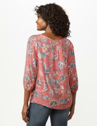 Crochet Trim Floral Square Neck Top - Coral - Back