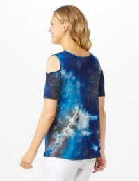 Tie Dye Cold Shoulder Knit Top - Navy - Back