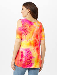 Tie Dye Cold Shoulder Knit Top - Pink - Back