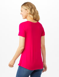 V Front  Knit Screen Tunic - Fuschia - Back