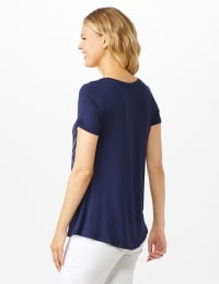 V Front  Knit Screen Tunic - Navy - Back