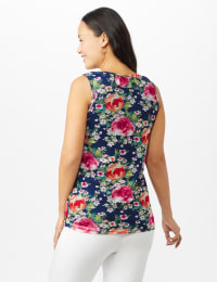 Floral Mesh Ruffle Knit Top - Navy - Back