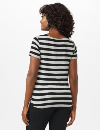 Mitered Stripe Tie Front Knit Top - Misses - Grey/Black - Back