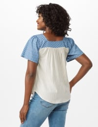 Square Neck Mix Fabric Top - Denim - Back