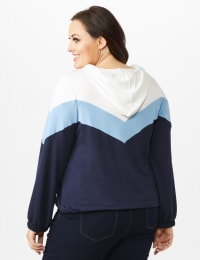 Color Block Self Tie Hoodie - Blue - Back