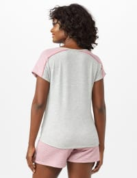 Color Block Tie Front Knit Tee - Heather Grey - Back