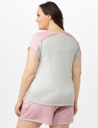 Color Block Tie Front Knit Tee - Plus - Heather Grey - Back