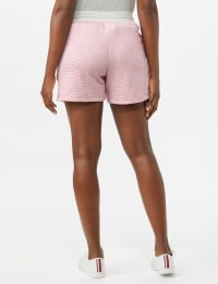 Stripe Drawstring Knit Shorts - Pink - Back