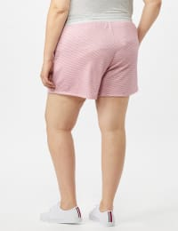 Stripe Drawstring Knit Short - Pink - Back