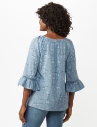 Flare Sleeve Smock Neck Vine Floral Top - Blue - Back