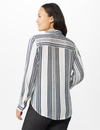 Verigated Stripe Roll Tab Shirt - Denim Blue - Back