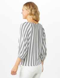 Stripe Button Front Peasant Top - Black/Ivory - Back