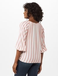 Stripe Button Front Peasant Top - Coral/Ivory - Back