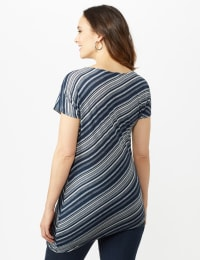 Asymmetrical Stripe Knit Tunic - Blue - Back