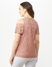 Lace Cold Shoulder Knit Top - Blush - Back