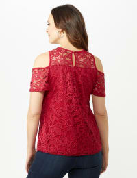 Lace Cold Shoulder Knit Top - Red - Back