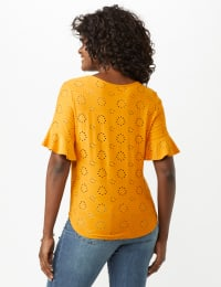 Eyelet Flounce Sleeve Tie Front - Mustard - Back