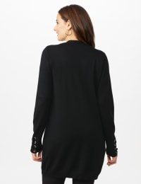 Grommet Lace-Up Trim Open Cardigan - Black - Back