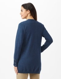 Grommet Lace-Up Trim Open Cardigan - Denim Heather - Back