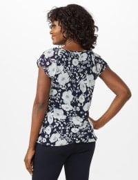 Floral Tier Print Top - Navy - Back