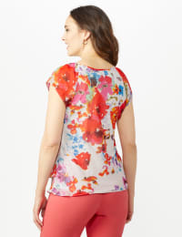 Floral Tier Print Top - Multi - Back