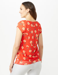 Floral Tier Print Top - Paprika - Back