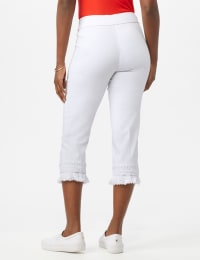 Pull on Crop Pants with Novelty Fringe Hem - Optic White - Back