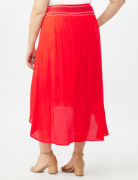 Textured Pull on Hi Lo Hem Skirt - Coralicious - Back