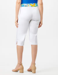 Pull On Crop Pants With Printed Tie Sash - White - Back